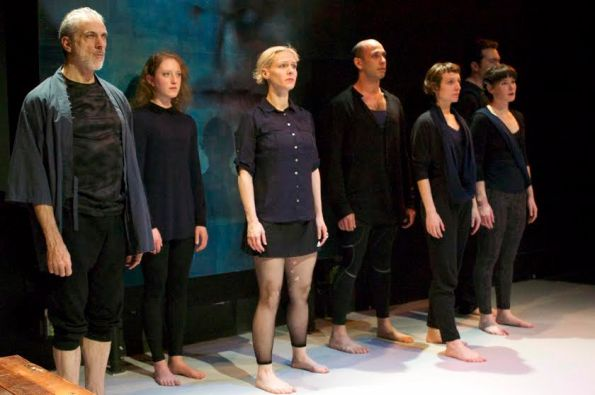 "(l to r)  Paul Loper, Hannah Donovan, Madeline H.D. Brown, Wiley Naman Strasser, Emma Crane Jaster, Elissa Beth Stebbins, Tim Green for the Chorus in Cutting Ball's  ""Antigone"". Photo Credit: Chase Ramsey."