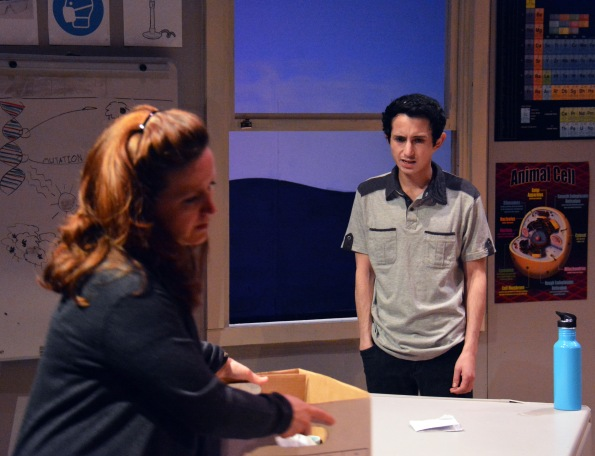 "Mary McGloin as Susan and Tim Garcia as Micah in ""How the World Began"" at Custom Made Theatre."