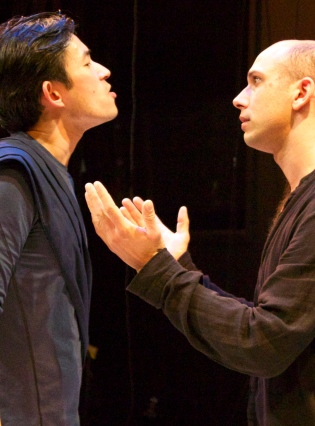 Kreon (Jason W. Wong, l) and son Haemon (Wiley Naman Strasser, r) argue voer the fate of Antigone. Photo Credit: Chase Ramsey.