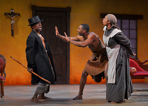 "(from l to r) L. Peter Callender as Uncle, JaBen Early as Tamba, and Elizabeth Carter as Mai Tamba in Danai Gurira's ""The Convert"". Photo Credit: Kevin Berne."