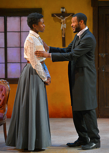 Katherine Renee Turner as Esther, the convert, and Jabari Brisport as Chilford, the missionary. Photo Credit: Kevin Berne.