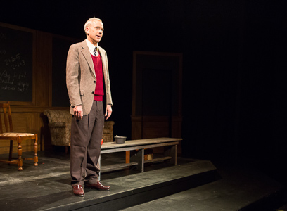 """John Fisher as Alan Turing in Theatre Rhinoceros' production of """"Breaking The Code"""" by Hugh Whitemore. Photo Credit: David Wilson."""