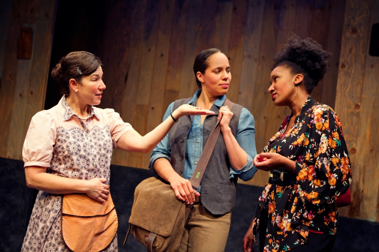 "Michele Leavy, Lauren Spencer, and Safiya Fredericks in the west coast premire of ""Blackademics"" at Crowded Fire Theatre. Photo Credit: Pak Han."