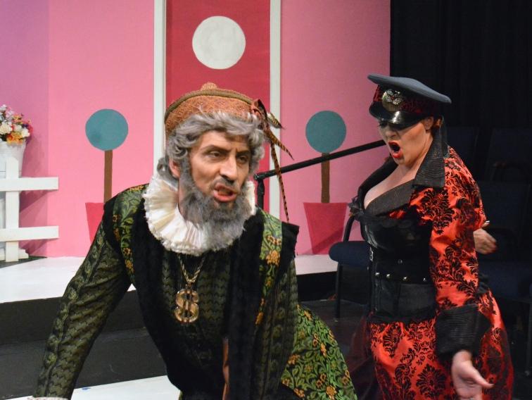 Jef Valentine as Hospitalides gets dominated by Catherine Leudtke as Climax. Photo Credit: Jay Yamada.