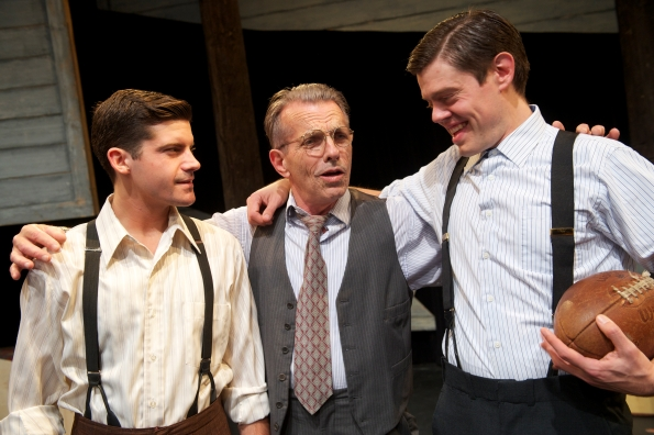 "Jeffrey Brian Adams as Happy, Randall King as Willy, and Danny Jones as Biff in San Jose Stage Company's production of ""Dearth of a Salesman"". Photo credit: San Jose Stage Company."