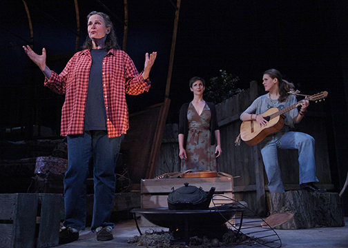 "Anne Darragh, Kathryn Zdan, and Rosie Hallett as a family under stress in Marin Theatre Company's west coast premiere of ""The Way West"" by Mona Mansour. Photo Credit: Marin Theatre Company."