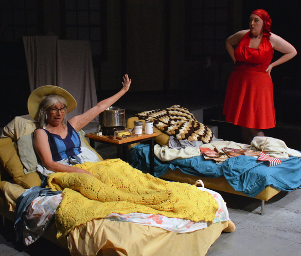 "(from l to r) Edith Bouvier Beale (Mary Gibboney) and her daughter, ""Little"" Edie Beale (Heather Orth) end their lives living in squalor in 'Grey Gardens: The Musical.' Photo Credit: Jay Yamada."