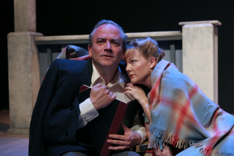 "(from l to r) Dale Albright and Cynthia Lagodzinski in Thornton Wilder's ""The Skin of our Teeth."" Photo Credit: Douglas Morrisson Theater."