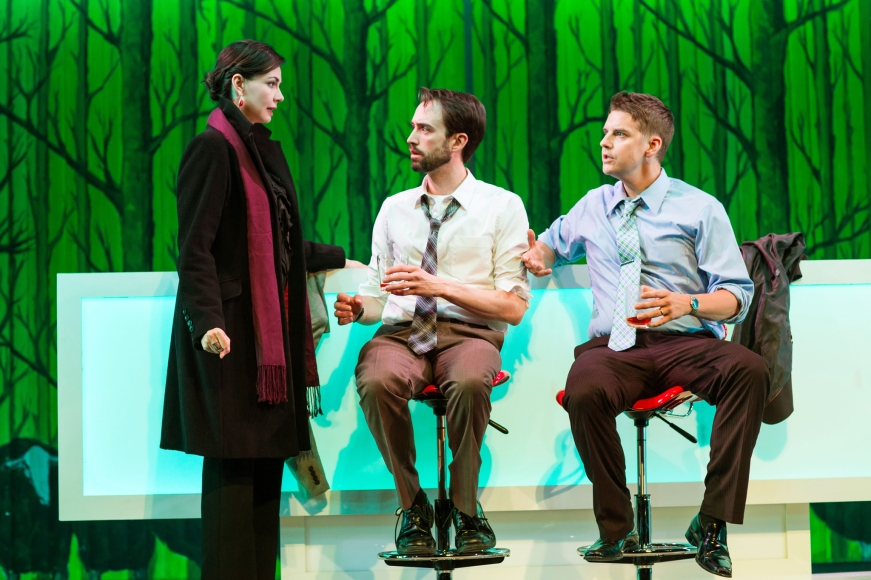 L to R: Liz Sklar, Kyle Cameron, and Patrick Russell in SF Playhouse's world premiere production of Richard Dresser's