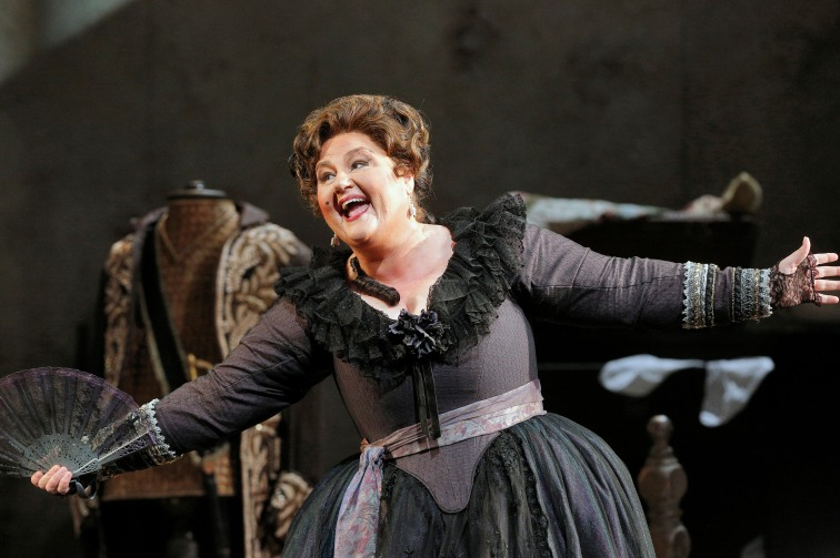 Mezzo-soprano Catherine Cook is particularly hilarious as Marcellina. Photo Credit: Cory Weaver/San Francisco Opera.