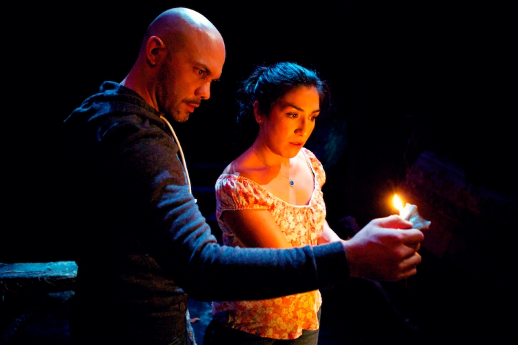 Hugo E. Arbajal as Miqueo and Marilet Martinez as Dalila in Shotgun Players' world premiere production of