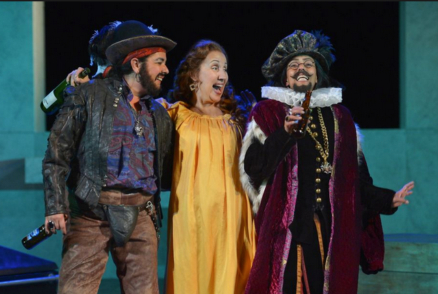 (from l to r) Catherine Castellanos as Sir Toby Belch, Domenique Lozano as Maria, and Margo Hall as Andrew Aguecheek in