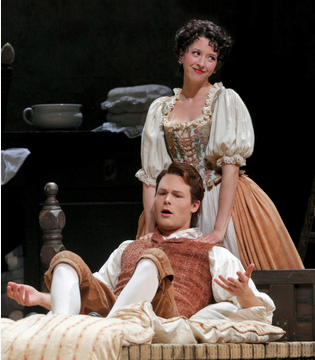 Philippe Sly as Figaro and Lisette Oropesa as Susanna. Photo Credit: Cory Weaver/San Francisco Opera