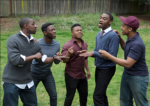 Members of the  choir ensemble in Marin Theatre Company's Bay area premiere production of Tarell Alvin McCraney's