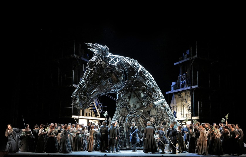 The Trojan is an unforgettable image in San Francisco Opera's producction of Berlioz's masterpiece. Set design by Es Devlin. Photo Credit: Cory Weaver.