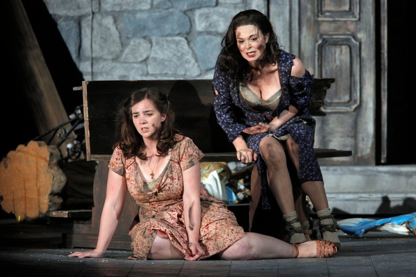 "Mother Cesira (Anna Caterina Antonacci) and daughter Rosetta (Sarah Shafer) suffer the ravages of war in ""Two Women."" Photo Credit: Cory Weaver."