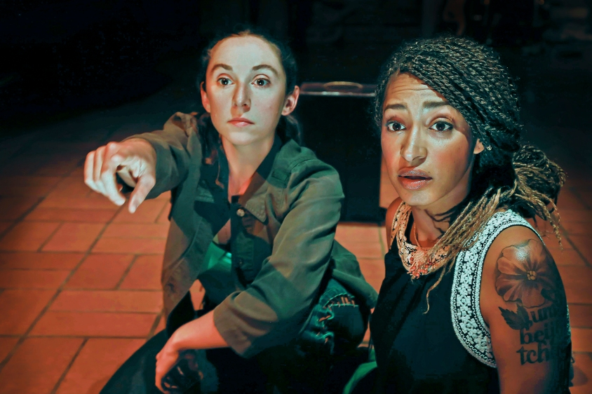 Izzy(Caitlyn Louchard) and Cree (Sam Jackson) join the crew of the Rainbow Warrior 2 on a mission to save the whales in Central Works' new musical,