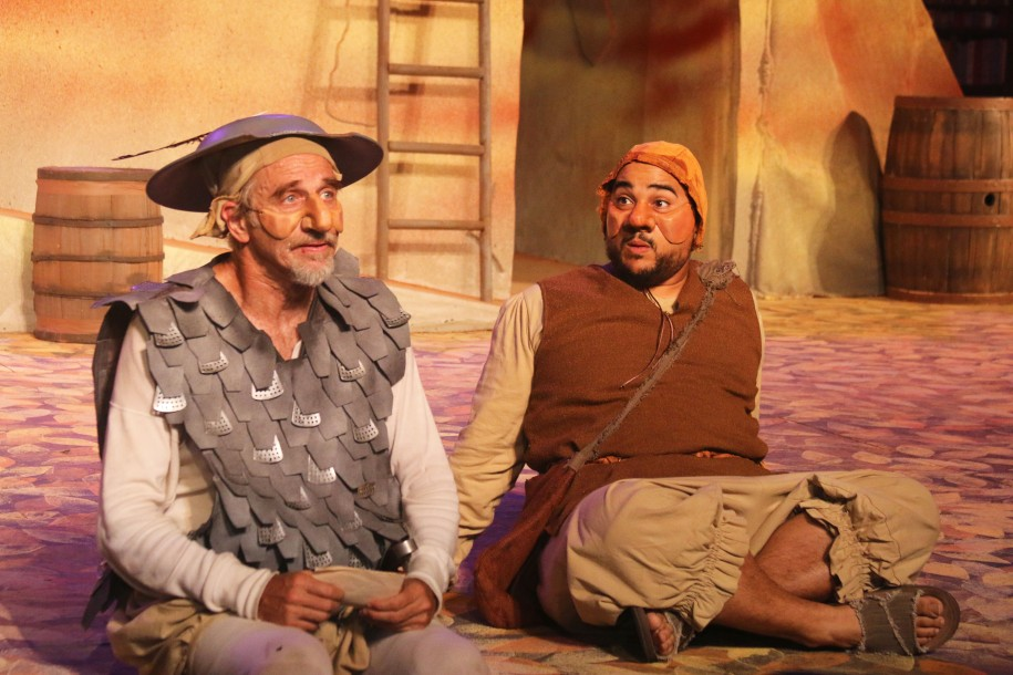 Don Quixote (Ron Campbell) and Sancho Panza ( ) share a quiet moment in the midst of their misadventures. Photo Credit: Lorii A. Cheung.
