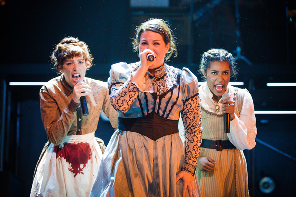 Bridget, the Maid (Melissa Reinertson), Lizzie Borden (Elizabeth Curtis), and Alice the Friend (Taylor Iman Jones) rock out in Ray Of Light's San Francisco premiere of
