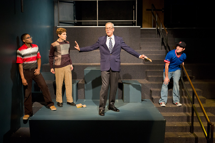 """(from L to R): Jesse F. Vaughn, Gabriel A. Ross, John Fisher, and Sean Keehan in Theatre Rhinoceros' world premiere production of John Fisher's """"Shakespeare Goes to War."""" Photo Credit: David Wilson."""