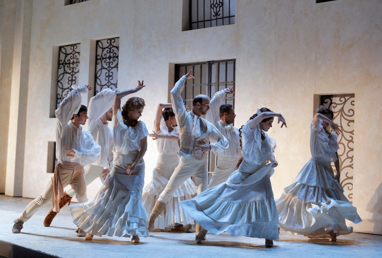 "The flamenco-influenced dancing is an integral part of SF Opera's delightful production of Rossini's ""Barber of Seville."" Photo Credit: Cory Weaver."