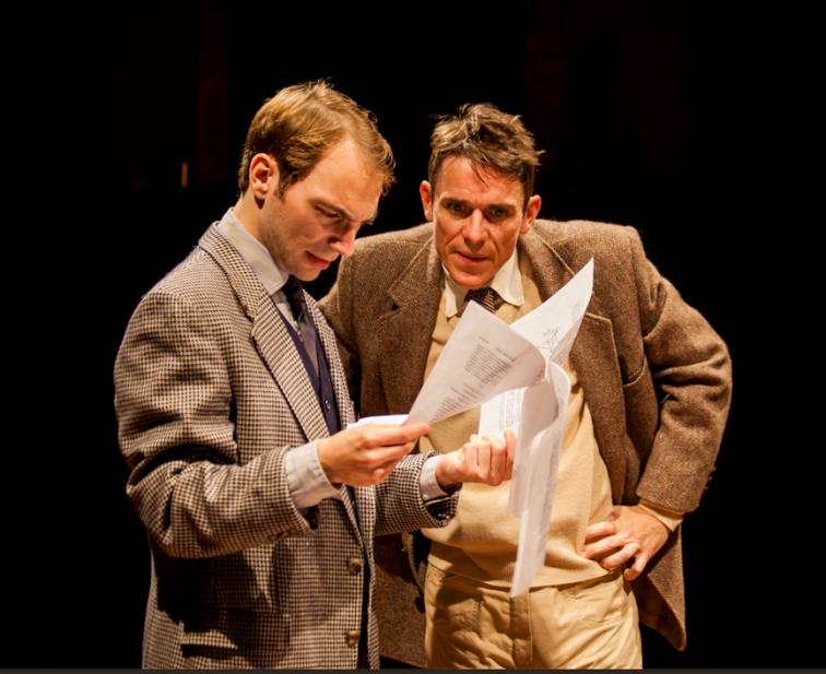 "Sam Tillis as Francis Circk and Alan Coyne as James Watson in Indra's Net theater's world premiere production of ""The Secret of Life"" by Bruce Coughran. Photo Credit: Indra's Net Theater."