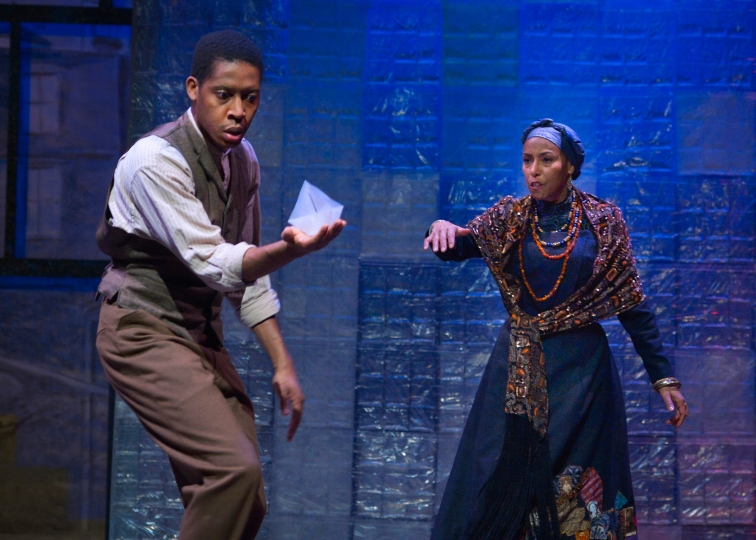 "Namir Smallwood as Citizen Barlow and Margo Hall as Aunt Ester in Marin Theatre Company's production of August Wilson's ""Gem of the Ocean."" Photo Credit: Kevin Berne."
