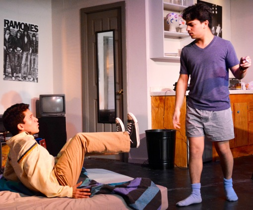 "Andrew Pryor-Ramirez (left) as Warren and Fernando Siu as Dennis in the Marin Onstage production of ""This Is Our Youth"" by Kenneth Lonergan. Photo Credit: Marina Nims."