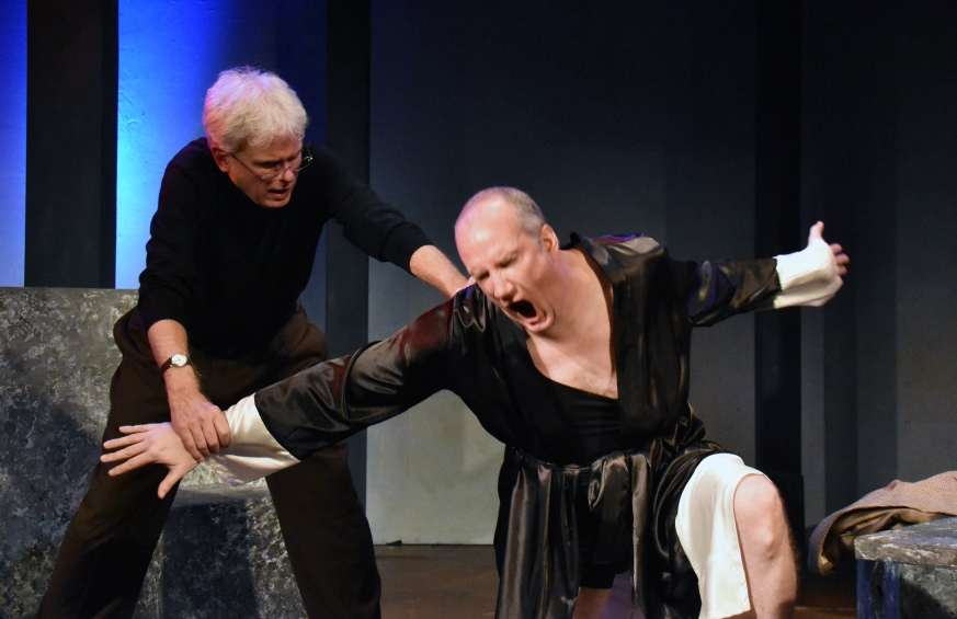 "Dave Sikula as Samuel Beckett and Brendan Averett as Andre the Giant in CustomMade Theatre Company's world premiere production of ""Sam and Dede"" by Gino Dilorio. Photo Credit: Jay Yamada."