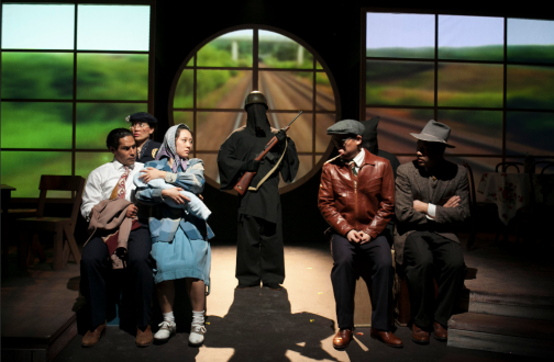 "Japanese-Americans are forcibly relocated to a Containment Camp in Luis Valdez new play, ""Valley of the Heart."" From left: Lakin Valdez, Christina Chu, Melanie Arii Mah, Rafael Toribio, Anthony Chan, and Ryan Takemiya. Photo Credit: David Murakami."