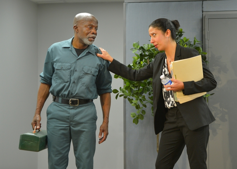 Walter (L. Peter Callender) & Charlene (Sarah Nina Hayon) conversing in the break room. Photo Credit: Kevin Berne.
