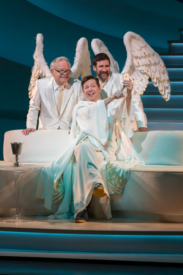 Sean Hayes, as God, takes a selfie with two archangels ((James Gleason and David Josefsberg). Photo Credit: Jim Cox.