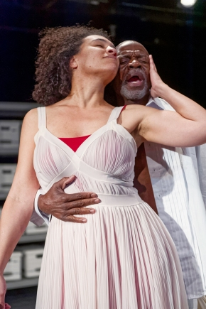 Leontyne Mbele-Mbong as Cleopatra and L. Peter Callendar as Mark Antony at African American Shakespeare Company. Photo Credit: Lance Huntley.