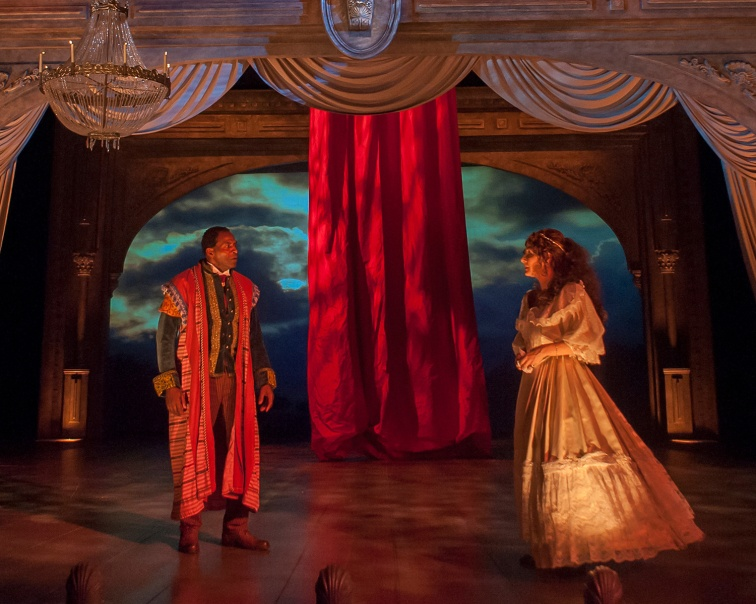 "Carl Lumbley as Ira Aldrige (playing Ohtello) and Susie Damilano as Ellen Tree (playing Desdemona) in ""Red Velvet."" Photo Credit: Ken Levin."
