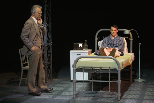 "L to R: David Strathairn as Dr. Philp Cotton and Dan Clegg as Chester Bailey in A.C.T.'s world premiere production of Joseph Dougherty's ""Chester Bailey."" Photo Credit: Kevin Berne."