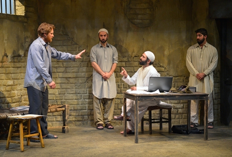 "From L to R: Craig Marker, Pomme Koch, Barzin Akhavan, and Jason Kapoor in the Bay area premiere of ""The Invisible Hand"" by Ayad Akhtar at Marin Theatre Company. Photo Credit: Kevin Berne."
