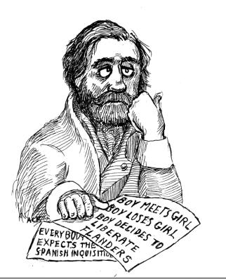 "Caricature of Verdi at work on ""Don Carlo."" Credit: Argyle C. Klopnick."