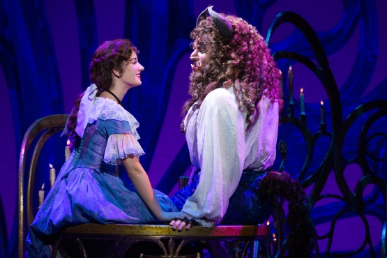 "Brook Quintana as Beauty and Sam Hartley as Beast in ""Beauty and the Beast"" at the Orpheum. Photo Credit: Matthew Murphy."