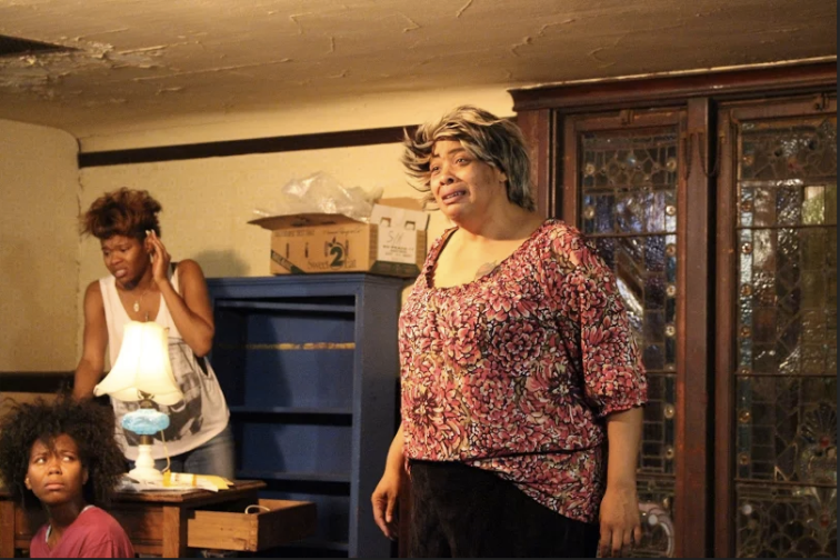 (from l) Chaz Shermil as Cookie, Jasmine Hughes as Crank, and Kimba Daniels as Big Mama. Photo Credit: Ubuntu Theater Project.