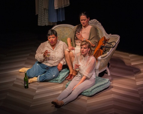 "(from l t r) Amy LIzardo as Mehr, , Karen Offereins as Julia, and and Sarah Moser as Ana in ""The Rules."" Photo Credit: Ken Levin."