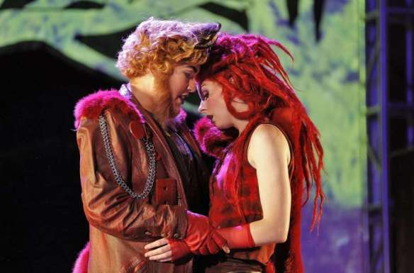 "Nikola Printz and Amy Foote in ""The Cunning Little Vixen."" Photo credit: Corey Weaver."