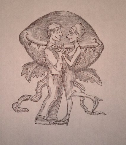 Seymour, Audrey, and Audrey II. Caricature by Argyle C. Klopnick.