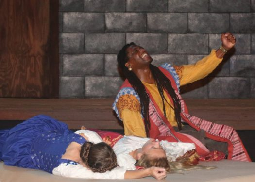 L to R: Elena Wright as Emilia, Luisa Frasconi as Desdemona, and Dameion Brown as Othello. Photo Credit: Lori A. Cheung.