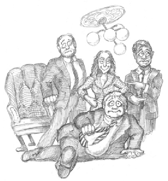 Caricature of Lucas Meachem (as Dr. Malatesta, Heidi Stober as Norina, Lawrence Brownlee as Ernesto, and Maurizio Muraro (on the floor)) as Don Pasquale. Credit: Argyle C. Klopnick.