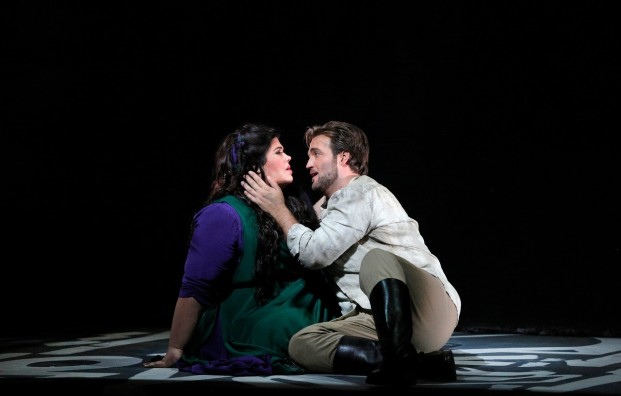 "Leah Crocetto as Aida and Brian Jagde as Radames in Verdi's ""Aida"". Photo Credit: Cory Weaver/SF Opera."