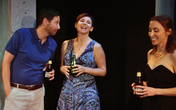 From L to R: Don (Ryan Hayes) with is caught in a triangle with wife Gwen (Lauri Smith) and ex-girlfriend Teri Whipple. Photo Credit: Jay Yamada.