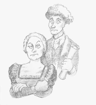 Mary Bennet (Martha Brigham) and Arthur de Bourgh (Adam Magill) slowly discover they have fallen in love, with a little bit of help from their friends. Caricature by Argyle C. Klopnik.